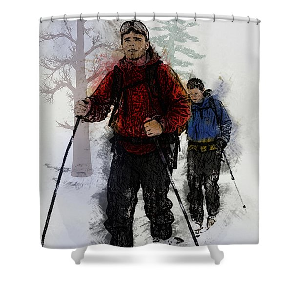 Cross Country Skiers Shower Curtain by Elaine Plesser
