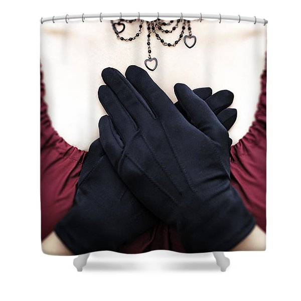 crossed hands Shower Curtain by Joana Kruse