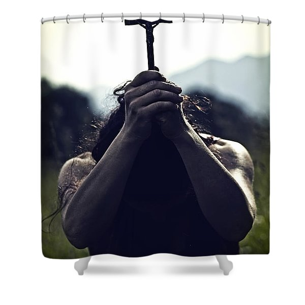 Crucifix Shower Curtain by Joana Kruse