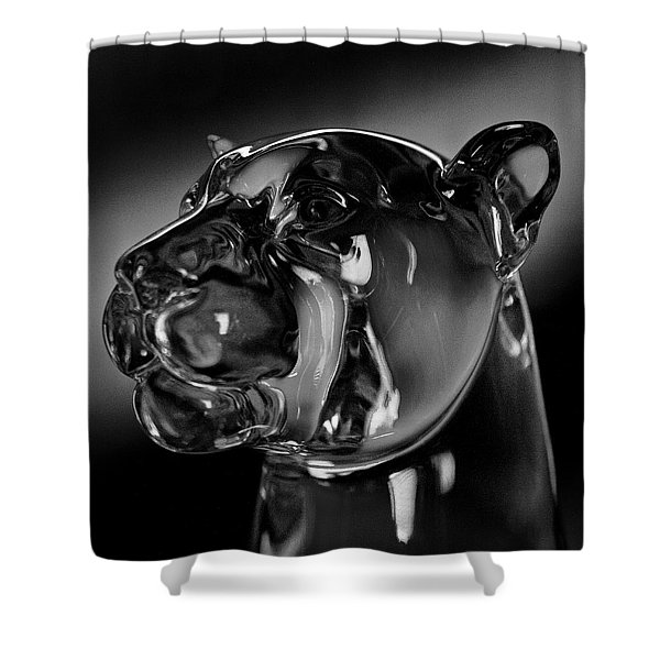 Crystal Cougar Head IIi Shower Curtain by David Patterson