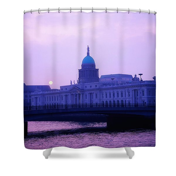 Custom House, Dublin, Co Dublin, Ireland Shower Curtain by The Irish Image Collection
