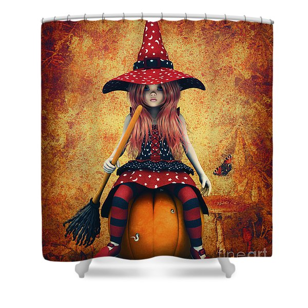 Cutest Little Witch Shower Curtain by Jutta Maria Pusl