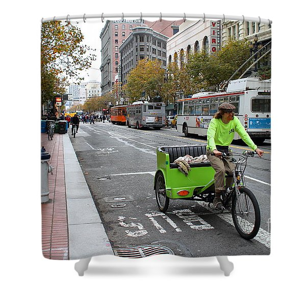 Cycle Rickshaw on Market Street in San Francisco Shower Curtain by Wingsdomain Art and Photography