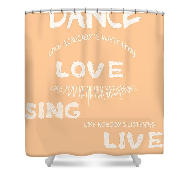Dance Like Nobody's Watching - Peach Shower Curtain by Nomad Art And  Design