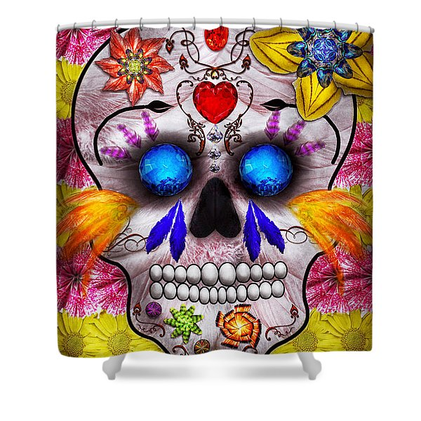 Day Of The Dead - Death Mask Shower Curtain by Mike Savad