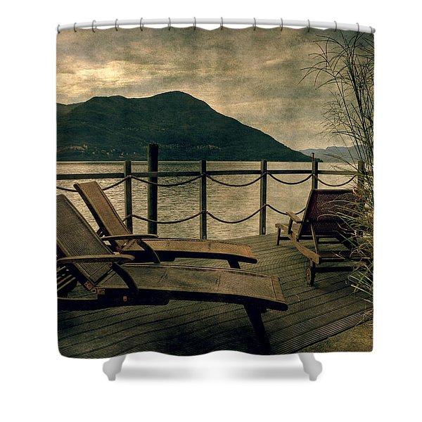 Deck Chairs Shower Curtain by Joana Kruse