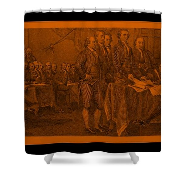 DECLARATION OF INDEPENDENCE in ORANGE Shower Curtain by ROB HANS