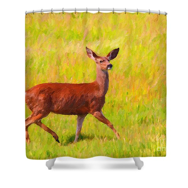 Deer In The Meadow Shower Curtain by Wingsdomain Art and Photography