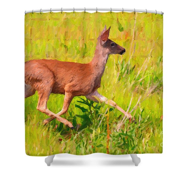 Deer Prancing In The Field Shower Curtain by Wingsdomain Art and Photography