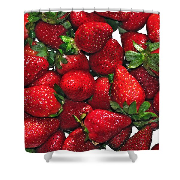 Deliciously Sweet Strawberries Shower Curtain by Kaye Menner