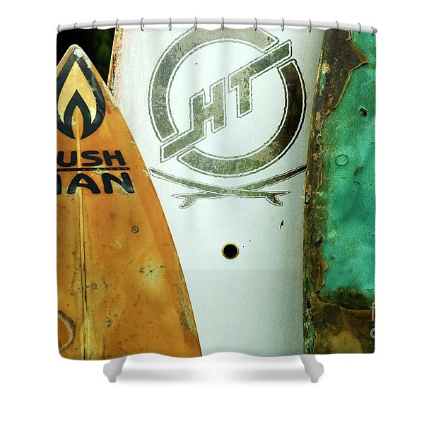 Detail Surfboard Fence Shower Curtain by Bob Christopher