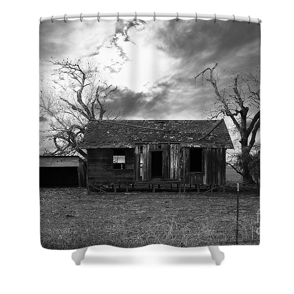 Dilapidated Old Farm House . 7d10341 . Black And White Shower Curtain by Wingsdomain Art and Photography
