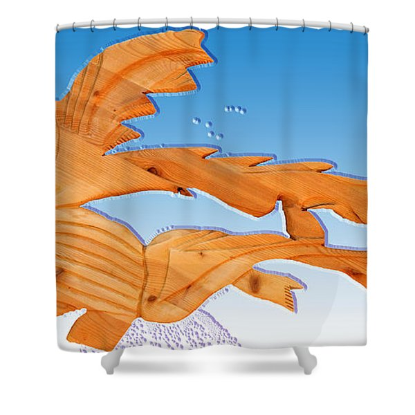 Dinosaur Fish With Bubbles Shower Curtain by Robert Margetts