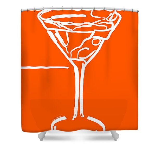 Do Not Panic - Drink Martini - Orange Shower Curtain by Wingsdomain Art and Photography