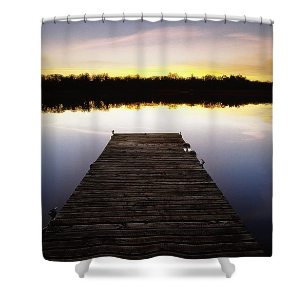 Dock At Sunset Shower Curtain by Gareth McCormack