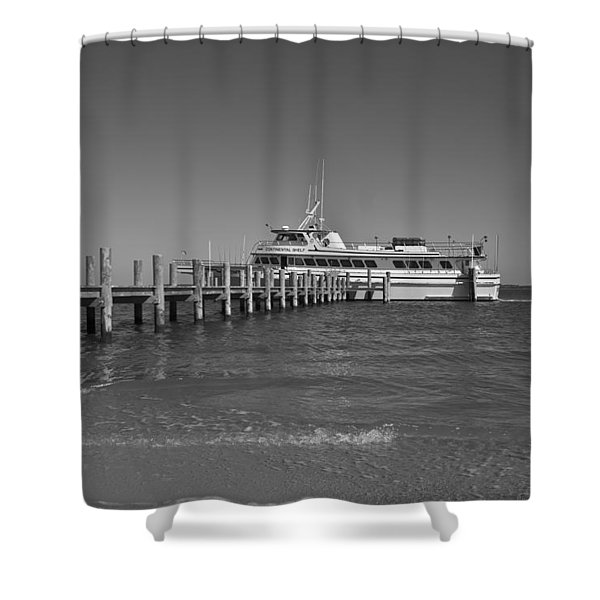 Docking for a Moment Shower Curtain by Betsy C  Knapp