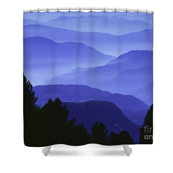 Dolomites Landscape Shower Curtain by Hermann Eisenbeiss and Photo Researchers