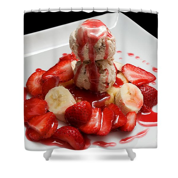 Double Scoop Strawberry Banana Shortcake Shower Curtain by Andee Design