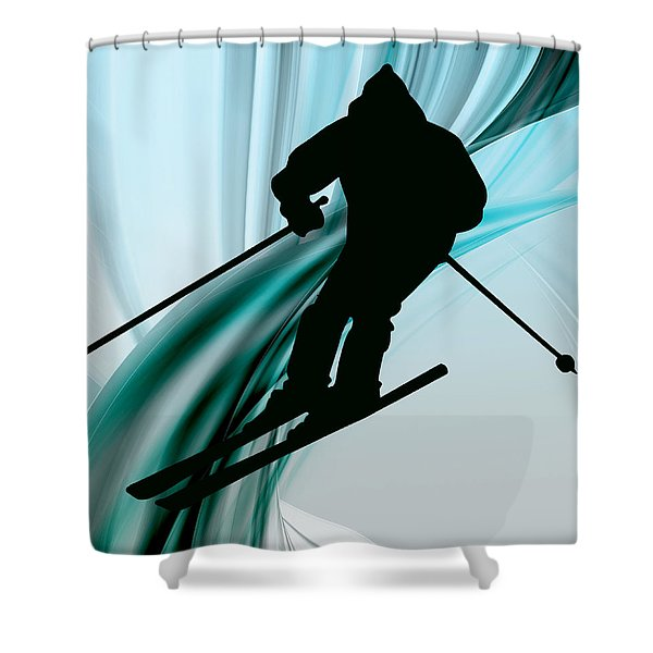 Downhill Skiing on Icy Ribbons Shower Curtain by Elaine Plesser