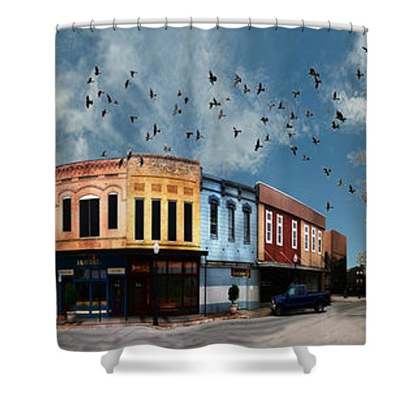Downtown Bryan Texas 360 Panorama Shower Curtain by Nikki Marie Smith