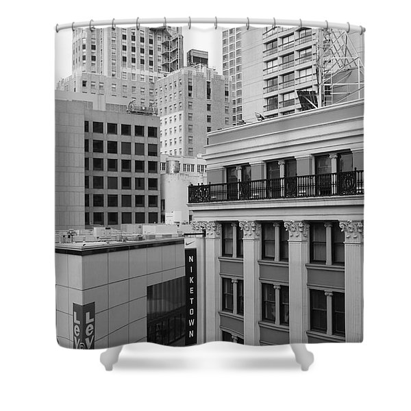 Downtown San Francisco Buildings - 5D19323 - Black and White Shower Curtain by Wingsdomain Art and Photography