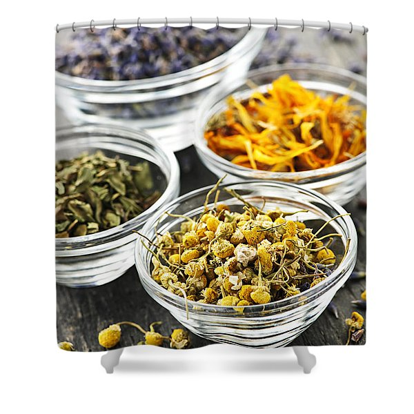 Dried medicinal herbs Shower Curtain by Elena Elisseeva