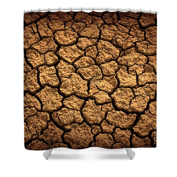 Dried Terrain Shower Curtain by Carlos Caetano