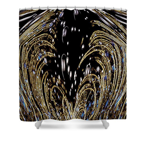 Effervescent Golden Arches Abstract Shower Curtain by Carolyn Marshall