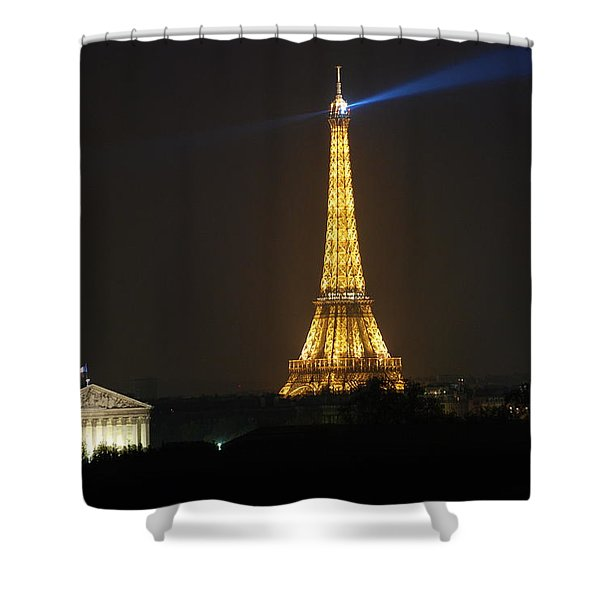 Eiffel Tower at Night Shower Curtain by Jennifer Lyon