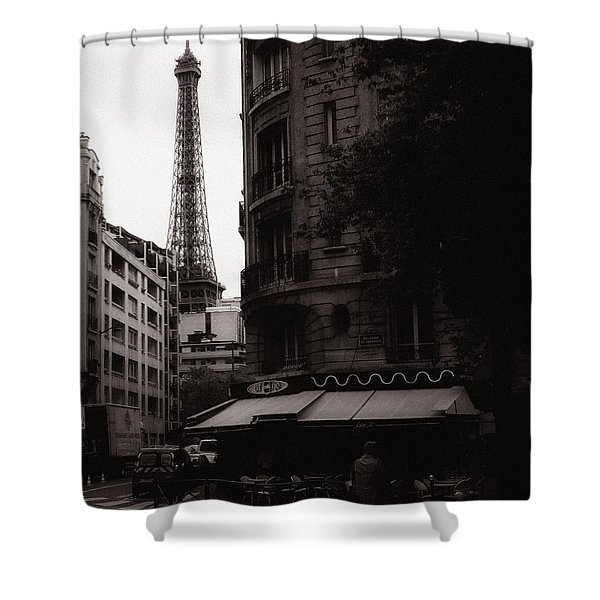 Eiffel Tower Black and White 2 Shower Curtain by Andrew Fare