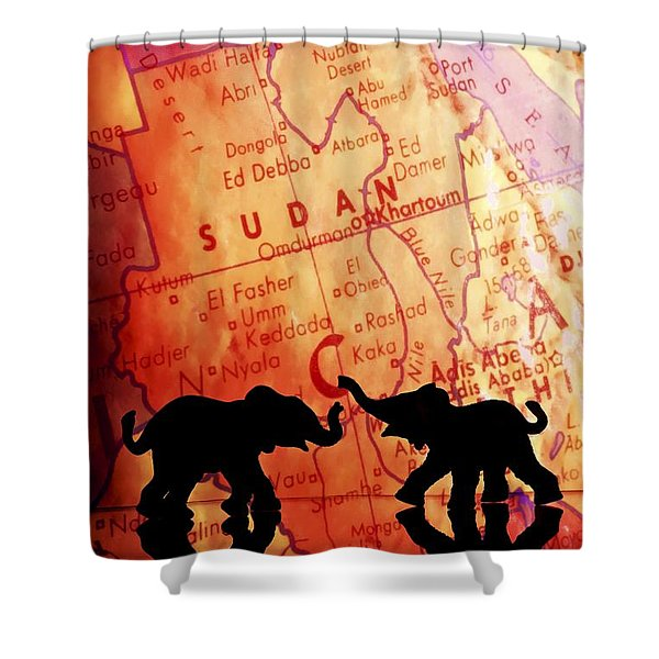 Elephant Silhouettes In Front Of A Map Shower Curtain by Chris Knorr