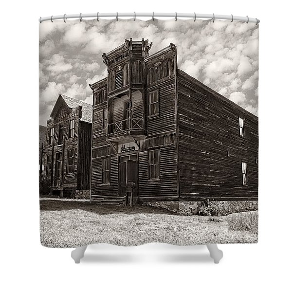 ELKHORN GHOST TOWN PUBLIC HALLS 3 - MONTANA Shower Curtain by Daniel Hagerman
