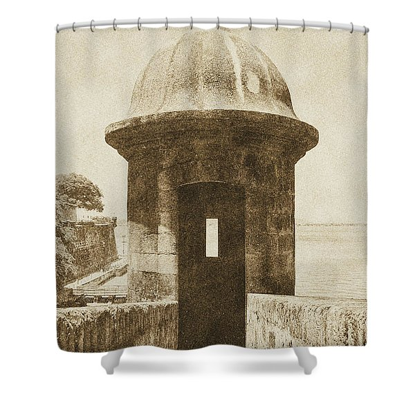 Entrance to Sentry Tower Castillo San Felipe Del Morro Fortress San Juan Puerto Rico Vintage Shower Curtain by Shawn O'Brien