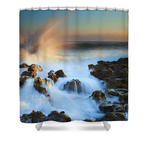 Explosive Dawn Shower Curtain by Mike  Dawson