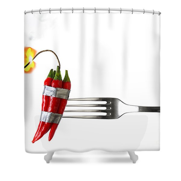 Explosive Food Shower Curtain by Carlos Caetano
