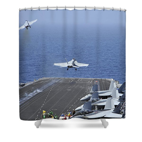 Fa-18f Super Hornets Launch Shower Curtain by Stocktrek Images