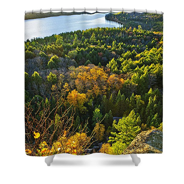 Fall forest and lake top view Shower Curtain by Elena Elisseeva