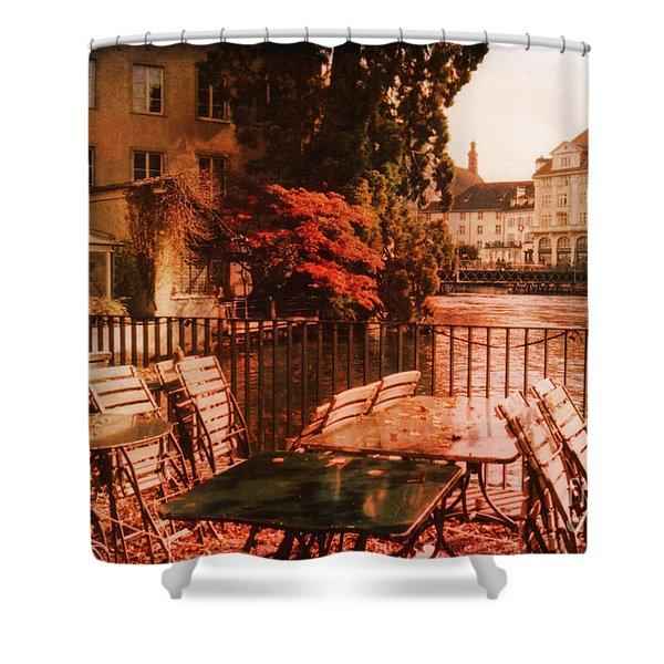 Fall in Lucerne Switzerland Shower Curtain by Susanne Van Hulst