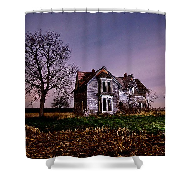 Farm House at night Shower Curtain by Cale Best