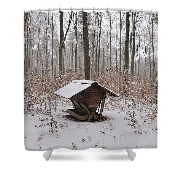 Feed box in winterly forest Shower Curtain by Matthias Hauser
