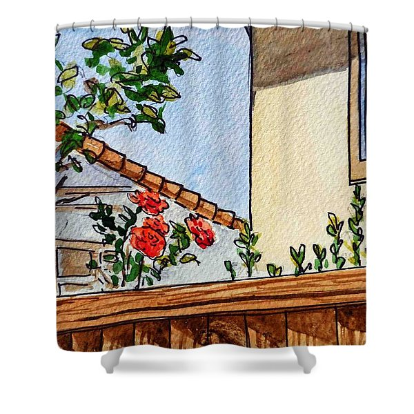 Fence And Roses Sketchbook Project Down My Street Shower Curtain by Irina Sztukowski