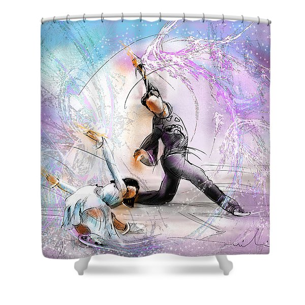 Figure Skating 02 Shower Curtain by Miki De Goodaboom