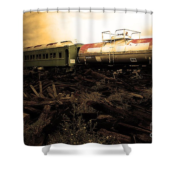 Final Stop Express . Sepia . 7d8995 Shower Curtain by Wingsdomain Art and Photography