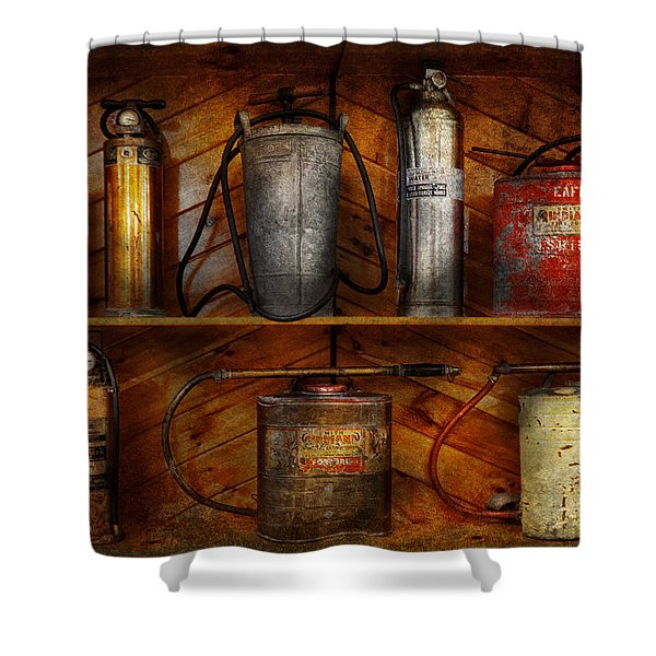 Fireman - Fire Control Shower Curtain by Mike Savad