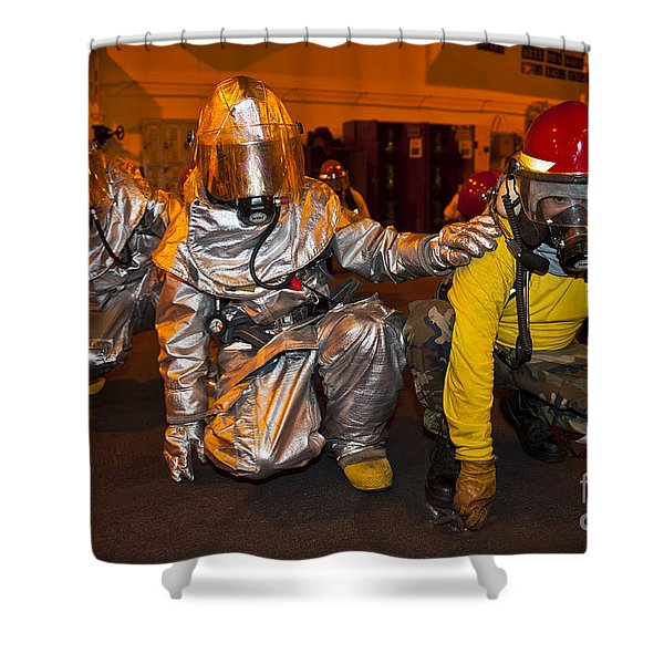 Firemen Brace For Shock Shower Curtain by Stocktrek Images