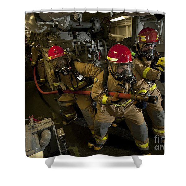 Firemen Combat A Simulated Fire Aboard Shower Curtain by Stocktrek Images