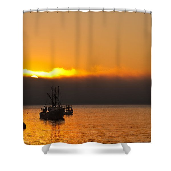 Fishing Boat At Sunrise Shower Curtain by Steve Gadomski