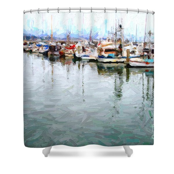 Fishing Boats At The Dock . 7d8187 Shower Curtain by Wingsdomain Art and Photography