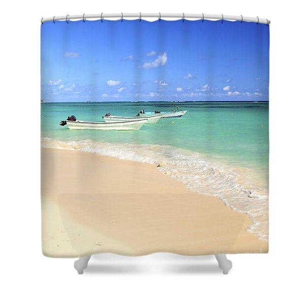 Fishing Boats In Caribbean Sea Shower Curtain by Elena Elisseeva