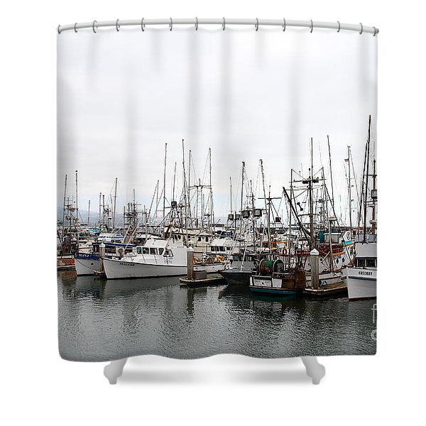 Fishing Boats In Pillar Point Harbor At Half Moon Bay California . 7d8196 Shower Curtain by Wingsdomain Art and Photography